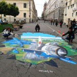 15 ( Romania, Timisoara,permanent colors 50m2, RoAF -Mig 21, 3d anamorphic picture )